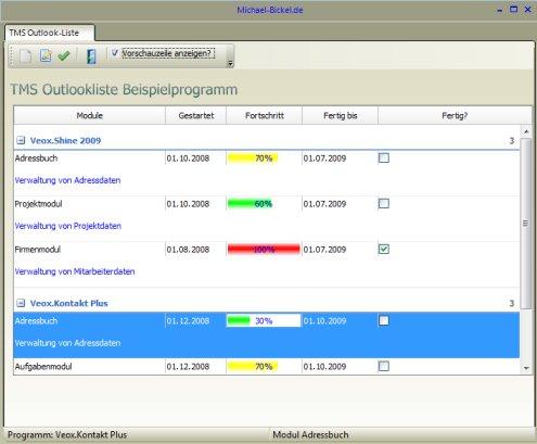 TMS ADVOutlooklist : Beispielprogramm