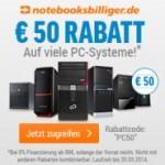 50 Euro Rabatt auf viele PC-Systeme bei notebooksbilliger.de