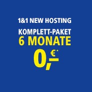 1&1 New Hosting 6 Monate für 0 Euro