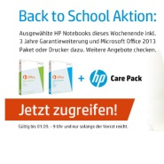 HP: Notebookpakete incl. MS Office Paketen 2013 plus Carepack 3 Jahre Serviceerweiterung mit bis zu 25% Sonderdiscount.