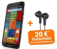 Motorola Moto X (2. Generation) inklusive Ear Buds Kopfhörer im Wert von 11,99 Euro und einen Notebooksbilliger.de Einkaufsgutschein im Wert von 20,00€
