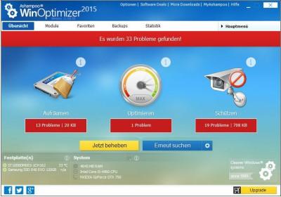 Ashampoo WinOptimizer 2015 Startseite