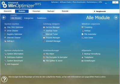 Ashampoo WinOptimizer 2015 Startseite - Module