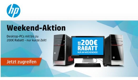 HP: Desktop-PCs mit bis zu 200 Euro Rabatt (HP Weekend)