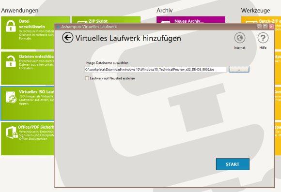 ISO Datei als Virtuelles Laufwerk mit Ashampoo ZipPro