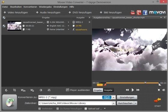 Flotte Videokonvertierung mit dem Movavi Video Converter (Mac / Windows)