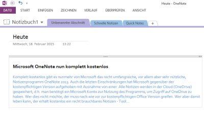 Microsoft OneNote 2013 nun komplett kostenlos