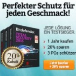 fBitdefender Aktion mit 20% Rabatt für Antivirus Plus 2015, Internet Security 2015 und Total Security 2015