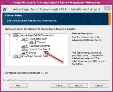 Advantage Database unter Lazarus installieren
