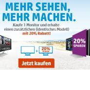 HP: 20% Rabatt beim Kauf von 2 Monitoren auf den zweiten Monitor