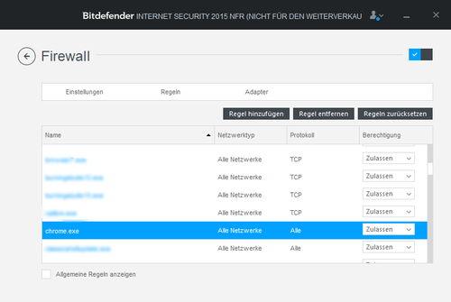 Firewall Regeln für Programmzugriffe in Bitdefender