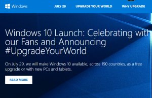 Windows 10 Launchseite vor 1 Jahr (Screenshot Microsoft.de)