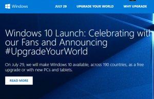 Windows 10 Launchseite vor 1 Jahr (Screenshot Microsoft.de)