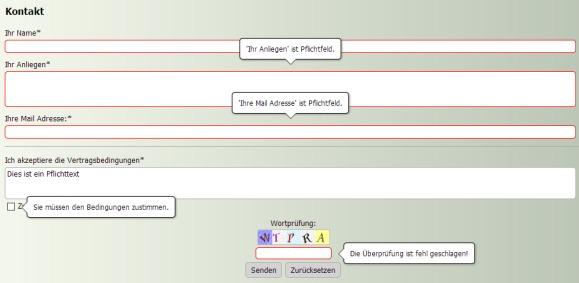 Formular mit Website X5 erstellt