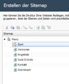 WebSite X5 - Sitemap der Webseite festlegen