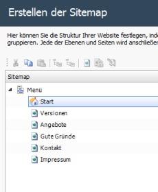 WebSite X5 - Sitemap der Webseite festlegen