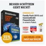 Bitdefender Top Angebot: Bitdefender Family Pack mit 50% Rabatt plus 1 Jahr Cosmos Finanzschutz