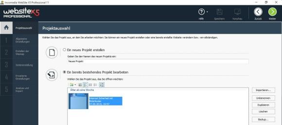 website x5 - auswahl erstellen projekt