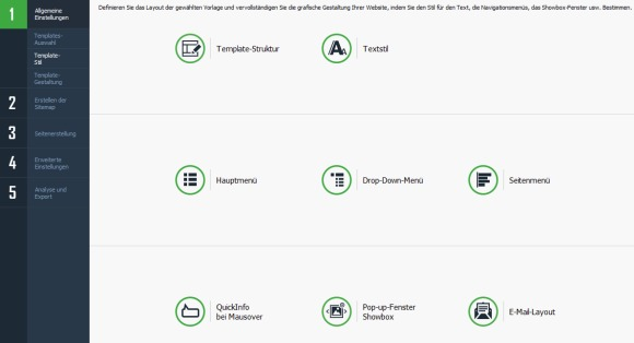 website x5 template stil festlegen