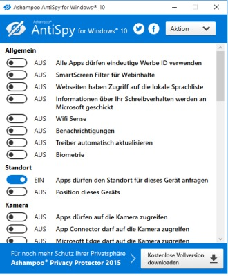 Kostenlos: Ashampoo Antispy for Windows 10  (Neu)