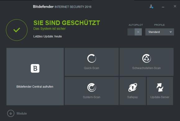 Bitdefender 2016 neue Startseite