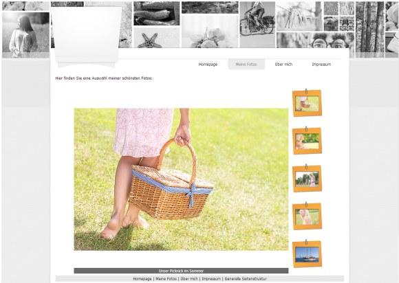 WebSite X5: mit Vorgabe Template erstellte Webseite mit Fotogalerie