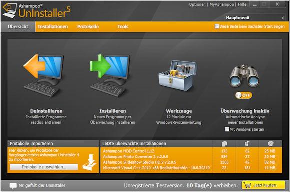 Ashampoo Uninstaller 5 : effiziente Deinstallation von Programmen mit Echtzeitüberwachung von programminstallationen