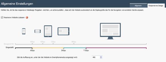 WebSite X5 Version 12 jetzt mit responsive Webdesign: Auflösung von Webseiten anpassen für die Darstellung von Webseiten auf Smartphones und Tablet PCs