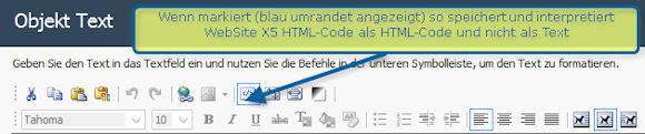 WebSite X5 - HTML_Modus / Interpretation aktivierenWebSite X5 - HTML_Modus / Interpretation aktivieren