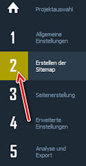 WebSite X5: Erstellen der Sitemap einer Homepage