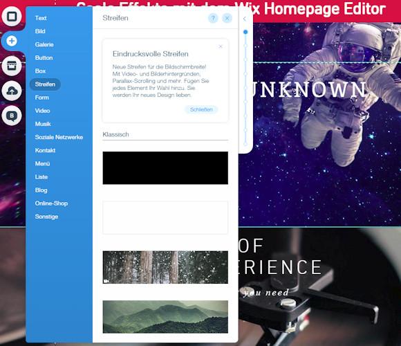 Streifen Design Konzept mit dem Wix Homepage Editor