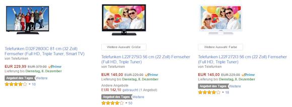Amazon Tagesangebot: Telefunken LED-TV Geräte ab 149 Euro
