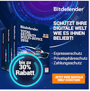 Bitdefender 2016 und Bitdefender Total Security MultiDevice 2016 20 Euro Rabatt Aktion