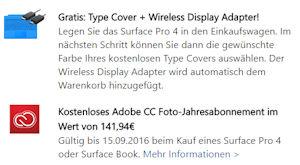 Microsoft Surface Pro 4 oder Surface Book mit Gratis Adobe CC Foto Jahresabo