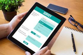 Tablet PC mit Online Umfrage