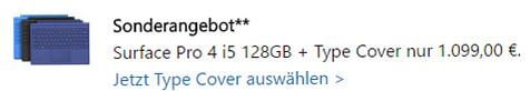 Angebot: Surface Pro 4 mit Type Cover 149,99 Euro günstiger