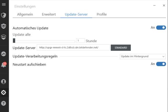 Bitdefender 2017 Updates konfigurieren