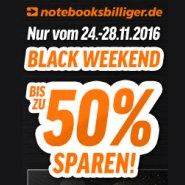Black Weekend Notebooksbilliger.de - bis zu 50% Rabatt auf Technik