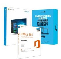 Software Bundle: MS Windows 10 plus Office 365 Personal plus F-Secure Internet Security 2016