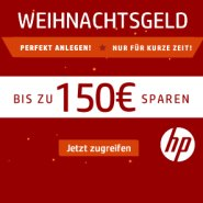 HP Weihnachtsgeld: Bis zu 150 Euro Rabatt Gutschein, freie Auswahl