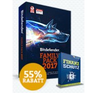 Bitdefender Family Pack 2017 + Finanzschutz Angebot mit 55% Rabatt