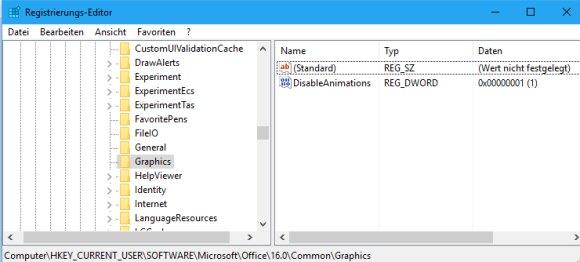 Cursor Animation in MS Office 2016 deaktivieren