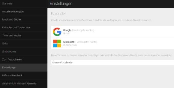 Echo Kalender mit Microsoft Outlook Kalender verknüpfen