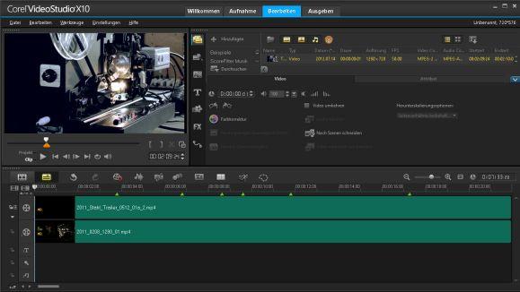 Corel Videostudio X10 Bearbeitungsoptionen