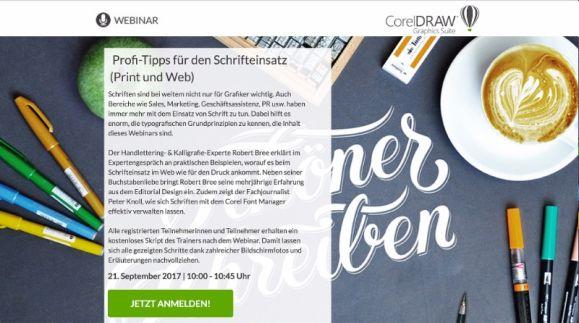 """Corel Webinar """"Profi-Tipps für den Schrifteinsatz (Print und Web)"""""""