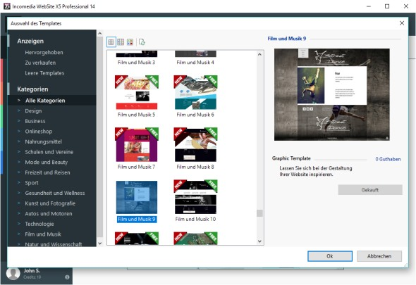 webseite x5 v14 mit 500 Templates