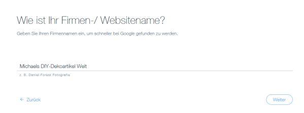 seo wiz von wix Homepagebaukasten - Firmenname eingeben