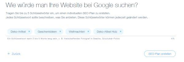 seo wiz von wix Homepagebaukasten - Schlüsselwörter / Keywords eingeben