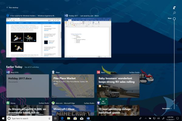 Timeline in Windows 10