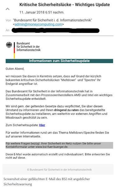 gefälschten E-Mail des BSI zum Thema Meltdown und Spectre